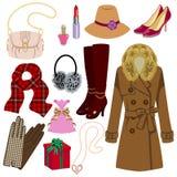 Kvinnligt modeobjekt, vinter och höst Arkivfoton