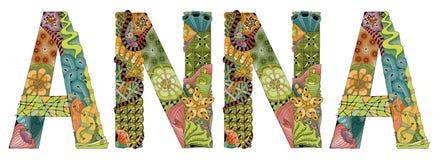 Kvinnligt namn ANNA Dekorativt zentangleobjekt för vektor vektor illustrationer