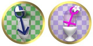 Kvinnligt och manligt toaletttecken för toalett - på den belade med tegel väggen med den guld- gränsen Royaltyfri Bild