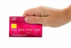 Räcka den hållande kreditkorten för betalning royaltyfria foton
