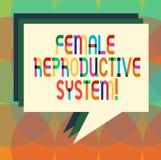 Kvinnligt reproduktivt system för ordhandstiltext Affärsidéen för ansvarig i reproduktionen av nya avkommor staplar av stock illustrationer