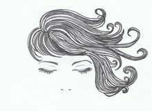 Kvinnligt sinnligt hår Arkivfoto