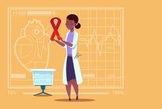 Kvinnligt sjukhus för arbetare för medicinska kliniker för förhindrande för sjukdom för afrikansk amerikandoktor Hold Cancer Ribb royaltyfri illustrationer