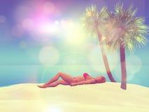 kvinnligt solbada 3D på en strand arkivfoto