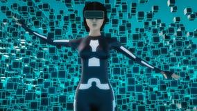 Kvinnligt tecken med virtuell verklighetexponeringsglas vektor illustrationer