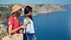 Kvinnligt tyckande om kamratskap för två lopp som talar beundra härlig seascape som har semester arkivfilmer
