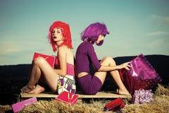 Kvinnligt vända mot Frågor som påverkar flickor Flickor med konstgjort hår med den färgrika shoppingpåsen Arkivbild