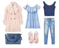 Kvinnliguppsättning av kläder Isolerade kläder för modekvinnajean arkivbild