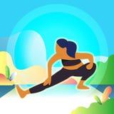 Kvinnor är övningen och yoga i morgonen Bakgrund Natur atlantiska Träd stock illustrationer
