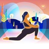 Kvinnor är övningen och yoga i morgonen Bakgrund Natur atlantiska Träd royaltyfri illustrationer