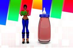 kvinnor 3d med flaskillustrationen Fotografering för Bildbyråer