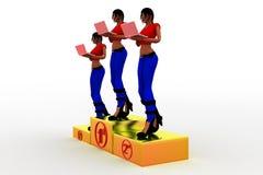 kvinnor 3d på det 1st 2nd 3rd priset Royaltyfri Bild
