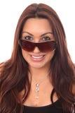 kvinnor för bakgrundsexponeringsglaswhite Royaltyfri Bild
