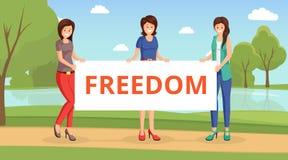Kvinnor för plan vektorillustration för frihet Tecknad filmflickor som rymmer plakatet med inskriftfrihet på demonstration stock illustrationer