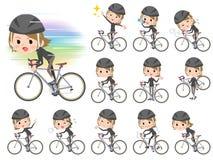 Kvinnor för svart för kort hår hånglade rider höjdpunkten på den red cykeln Royaltyfri Fotografi