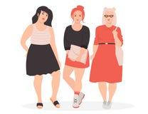 Kvinnor för tecknad film för vektor som tre fylliga tillsammans står på vit bakgrund royaltyfri bild