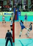 kvinnor för volleyboll för cevkopp europeiska Arkivbilder