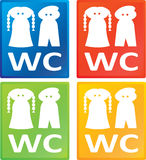 kvinnor för wc för manteckentoalett royaltyfria foton