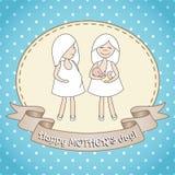 Kvinnor för whith två för hälsningkort Royaltyfria Bilder