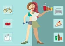 Kvinnor finns före och efter banta, sund livsstil, Fotografering för Bildbyråer