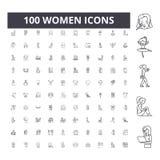 Kvinnor fodrar symboler, tecken, vektorupps?ttningen, ?versiktsillustrationbegrepp fotografering för bildbyråer