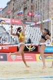 Kvinnor från Brasilien lekvolleyboll Arkivfoto