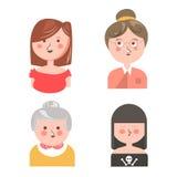 Kvinnor från olika utvecklingar isolerade den roliga avatarsuppsättningen stock illustrationer