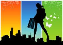 kvinnor för 1 shoppingvektor Arkivfoto