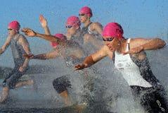 kvinnor för triathlon för start för b-elit s Royaltyfri Fotografi
