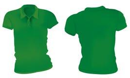 Kvinnor gör grön Polo Shirts Template vektor illustrationer