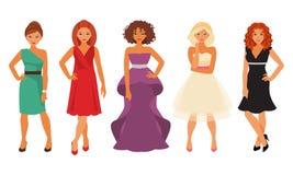 Kvinnor i aftonklänningar Fotografering för Bildbyråer