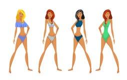 Kvinnor i baddräkt stock illustrationer