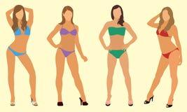 Kvinnor i bikinier Fotografering för Bildbyråer