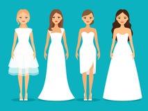 Kvinnor i bröllopsklänningar vektor illustrationer