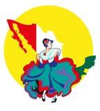 Kvinnor i den mexicanska nationella klänningen Fotografering för Bildbyråer