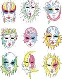 Kvinnor i den Venetian karnevalet maskerar royaltyfri illustrationer