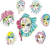 Kvinnor i den Venetian karnevalet maskerar Arkivfoton