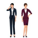 Kvinnor i dräkter för kontor stock illustrationer