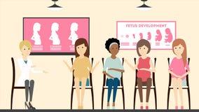Kvinnor i före födseln klinik royaltyfri illustrationer