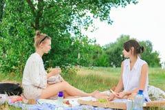 Kvinnor i gräsplan parkerar på picknick royaltyfri fotografi