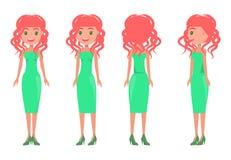 Kvinnor i grön uppsättning för funktionsläge för klänningvektorsommar vektor illustrationer