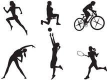 Kvinnor i olika sorter av sporten. Arkivfoton