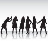 Kvinnor i rörelse Fotografering för Bildbyråer