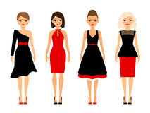Kvinnor i retro klänningar stock illustrationer
