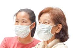 Kvinnor i skyddande medicinsk maskering Arkivfoton