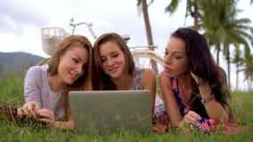Kvinnor lägger på gräs genom att använda bärbara datorn tillsammans under picknick i bygden arkivfilmer