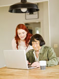 Kvinnor med datoren Arkivfoton