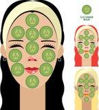 Kvinnor med den ansikts- maskeringen av gurkaskivor Arkivfoto