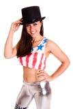 Kvinnor med hatten som isoleras på den vita bakgrundsdiskocirkusen, ler sinnesrörelse fotografering för bildbyråer