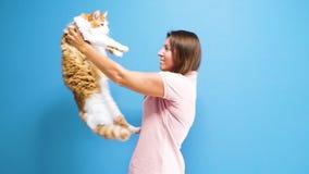 Kvinnor med katten arkivfilmer